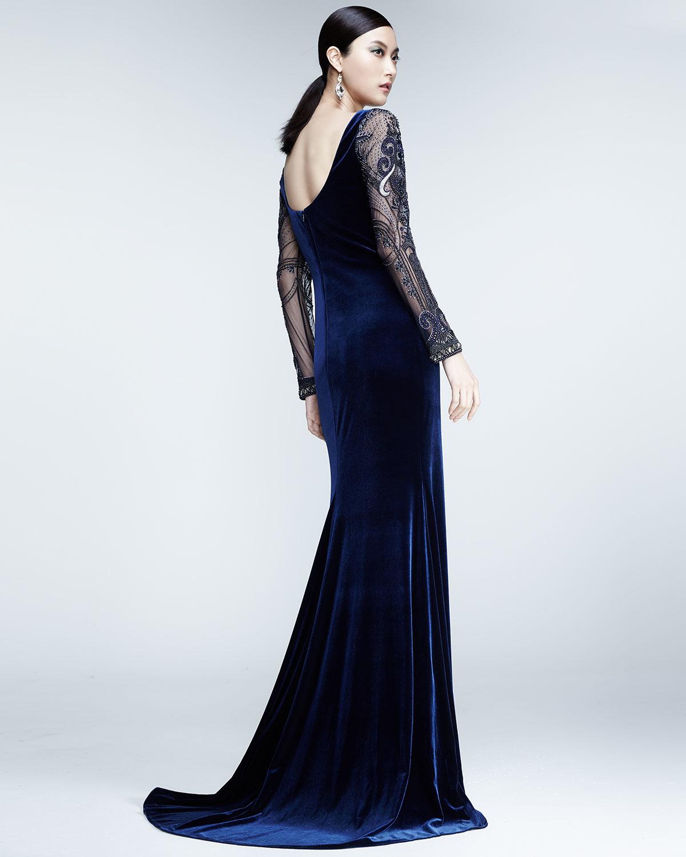 Lyst Badgley Mischka Beaded Long Sleeve Velvet Gown In Blue