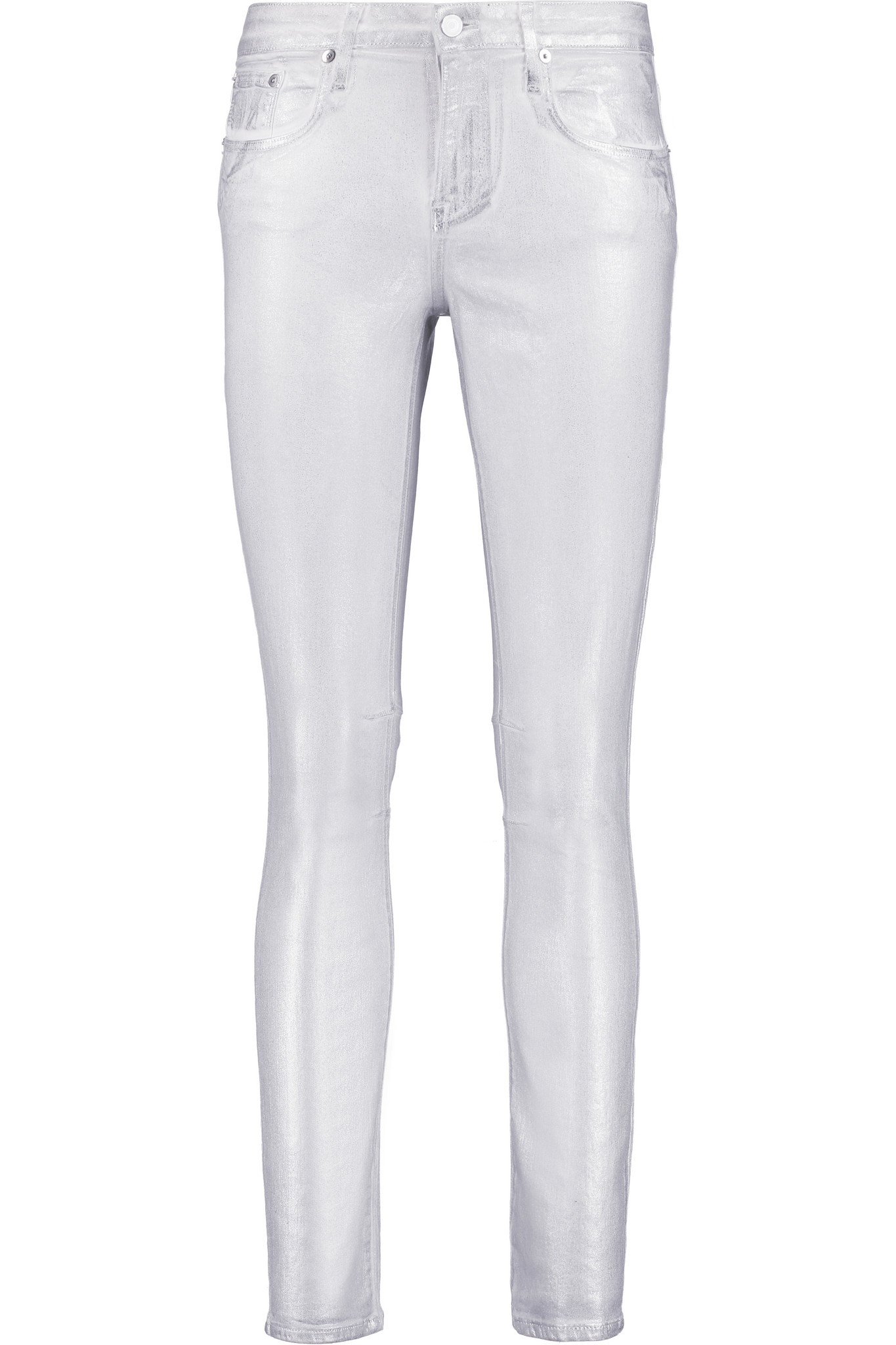Helmut lang Metallic Coated Mid-rise Skinny Jeans in Metallic | Lyst