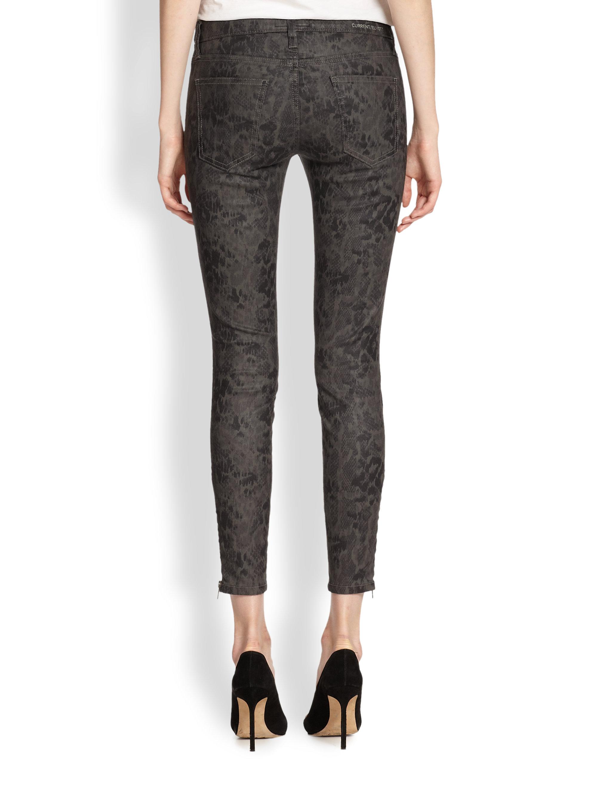 Sale Authentic Current/Elliott Mid-Rise Snake Print Jeans 100% Guaranteed Buy Cheap Manchester Great Sale bguSP