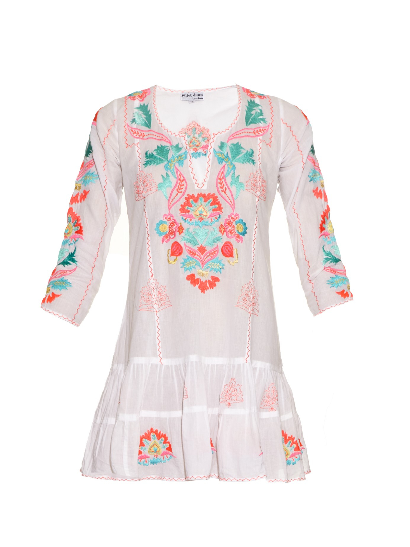 Juliet Dunn Hand Embroidered Cotton Kaftan In White Lyst