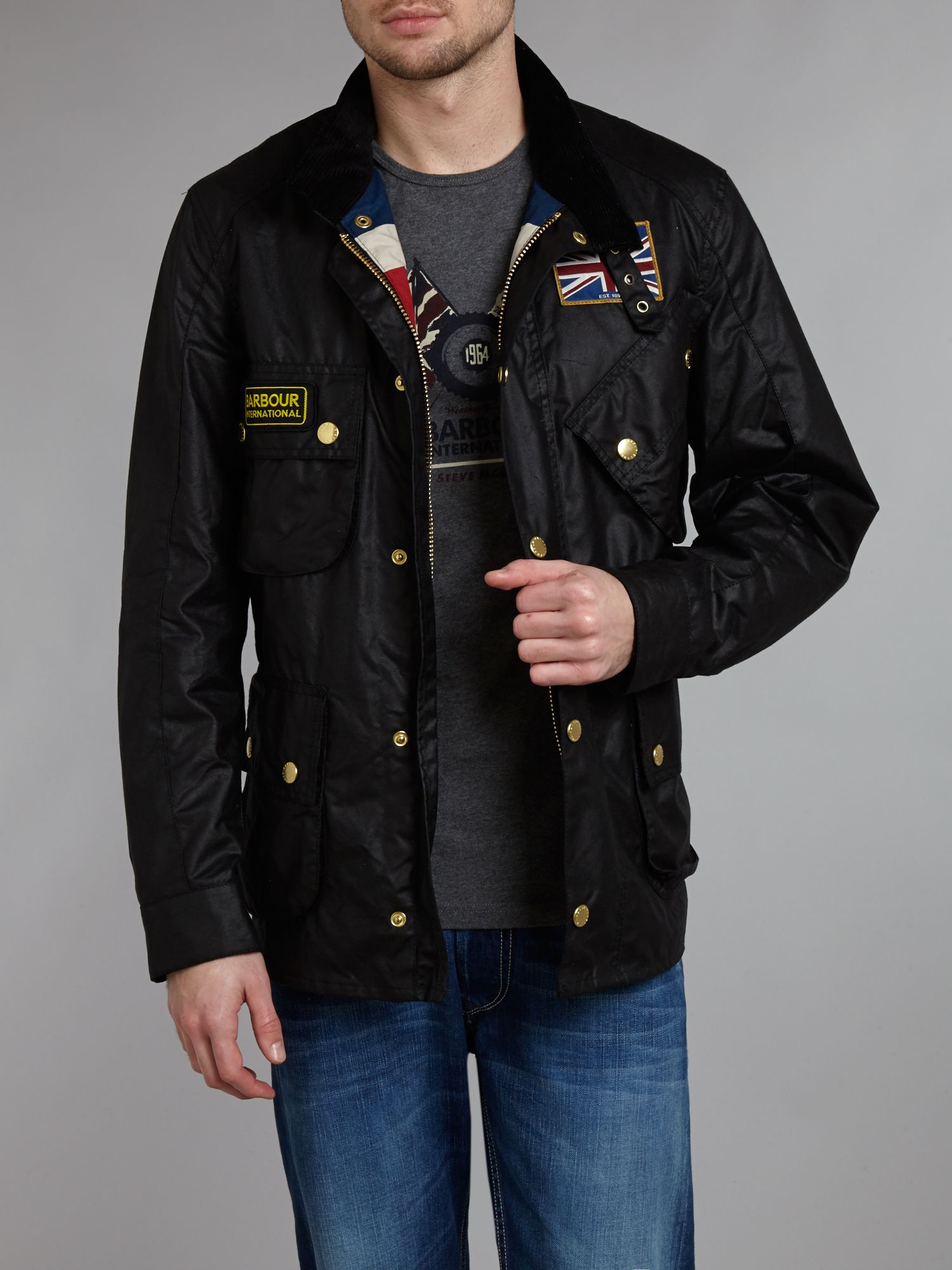 Barbour Union Jack Lined Motorcycle Jacket In Black For