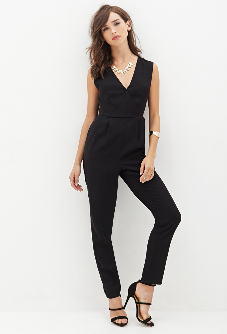ee08378d893 Lyst - Forever 21 Surplice Woven Jumpsuit in Black