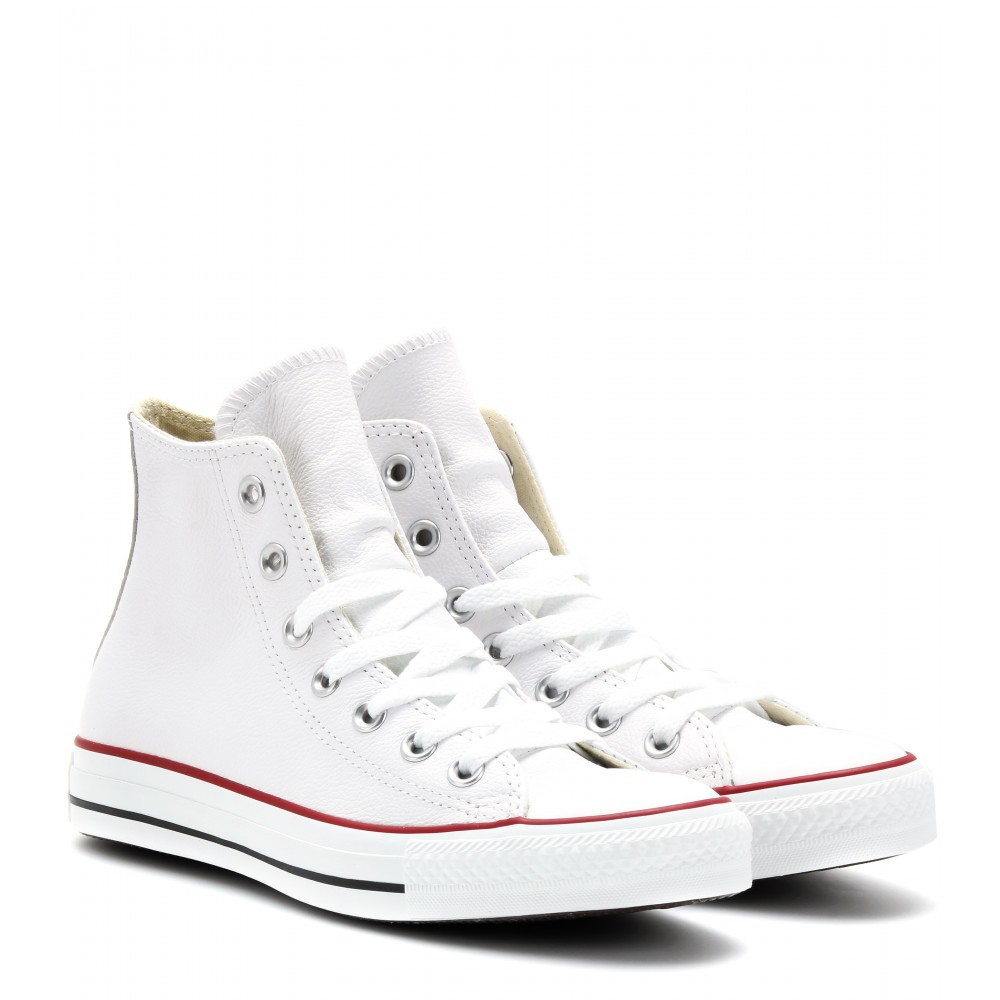 Lyst - Converse Chuck Taylor All Star Leather Hightop Sneakers in White 05b7b8a09