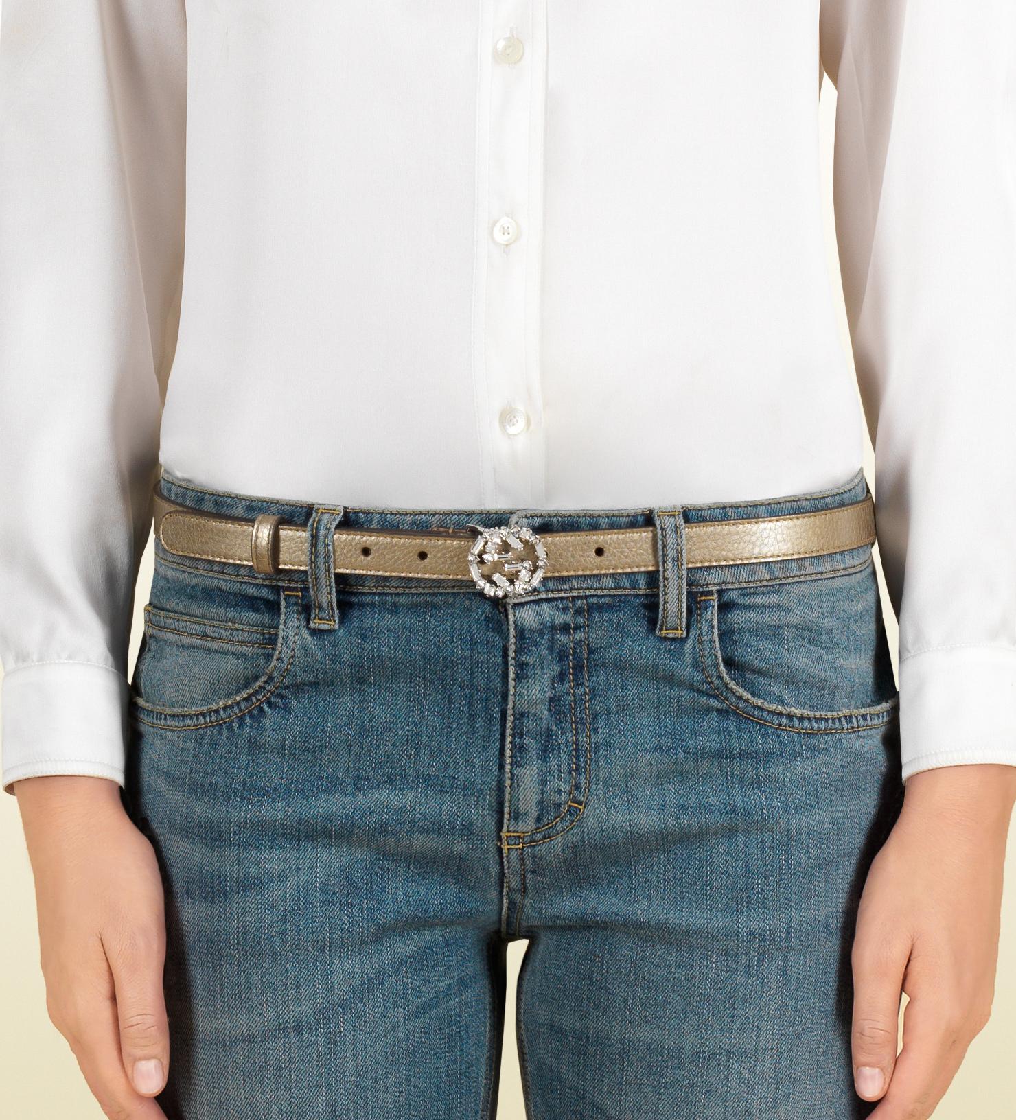 c3b90573d2a6 Lyst - Gucci Metallic Leather Belt With Crystal Interlocking G ...