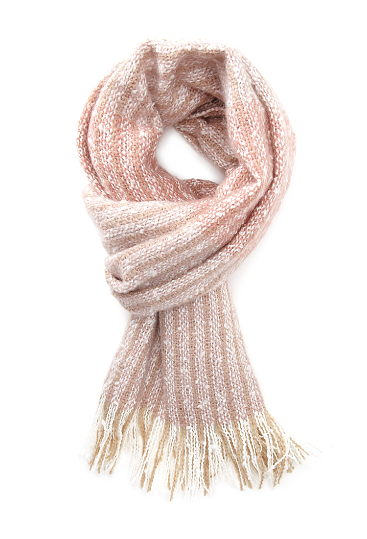 forever 21 multi stripe fringed scarf in pink lyst