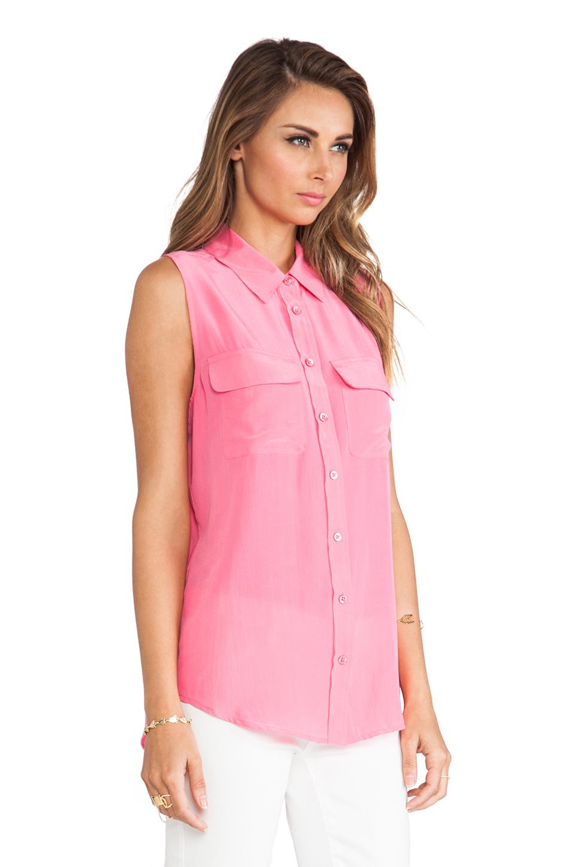 f97cc5dc7f0ac0 Lyst - Equipment Sleeveless Slim Signature Blouse in Pink