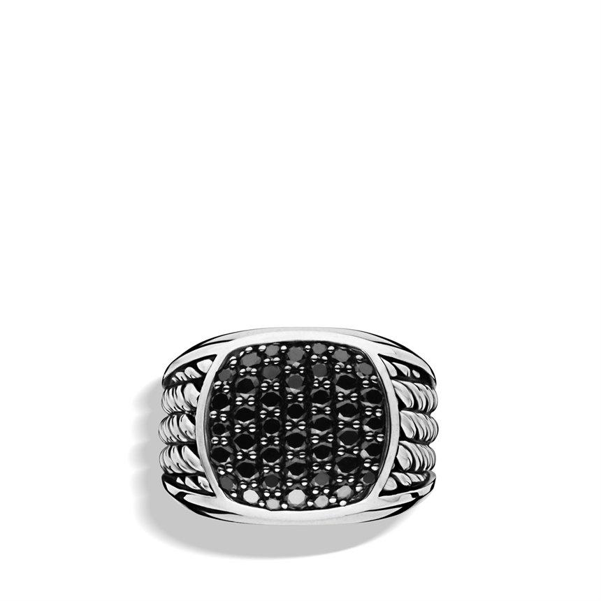 David Yurman Maritime Rope Signet Ring With Black Diamonds