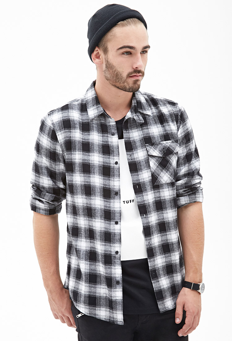 Forever 21 Blurred Plaid Flannel Shirt in Black for Men | Lyst