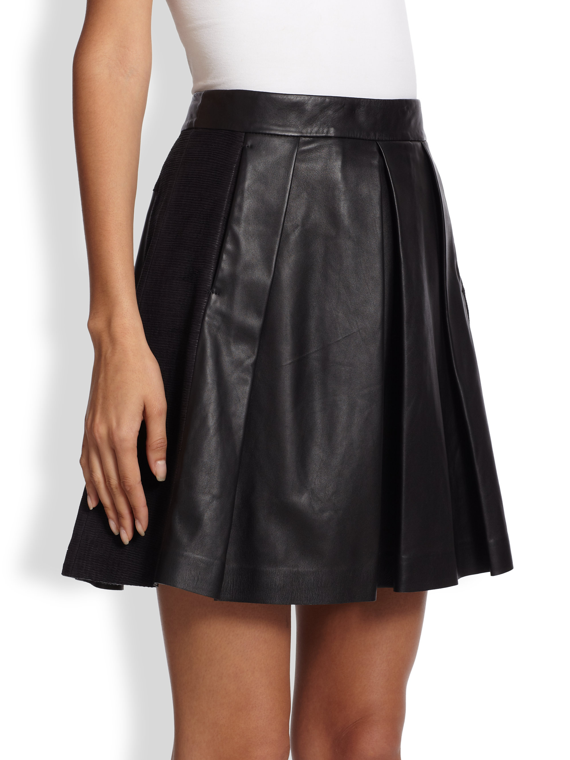 proenza schouler pleated leather skirt in black lyst