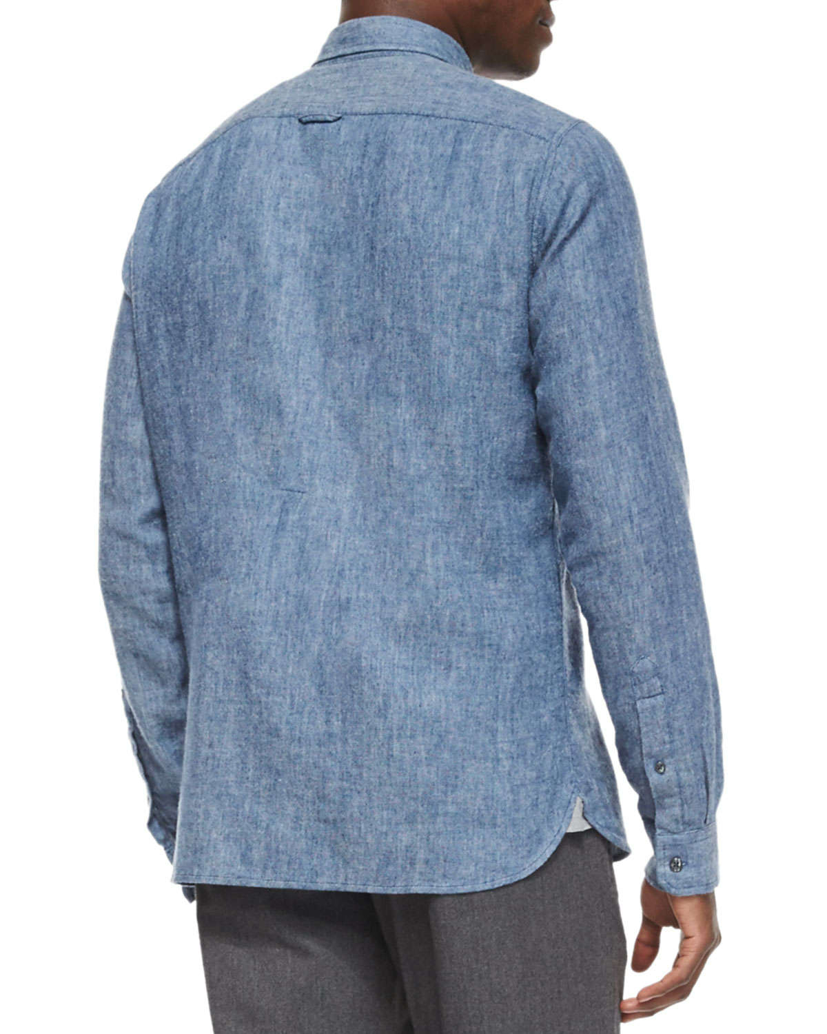 Vince Brushed Twill Long Sleeve Denim Shirt In Blue For