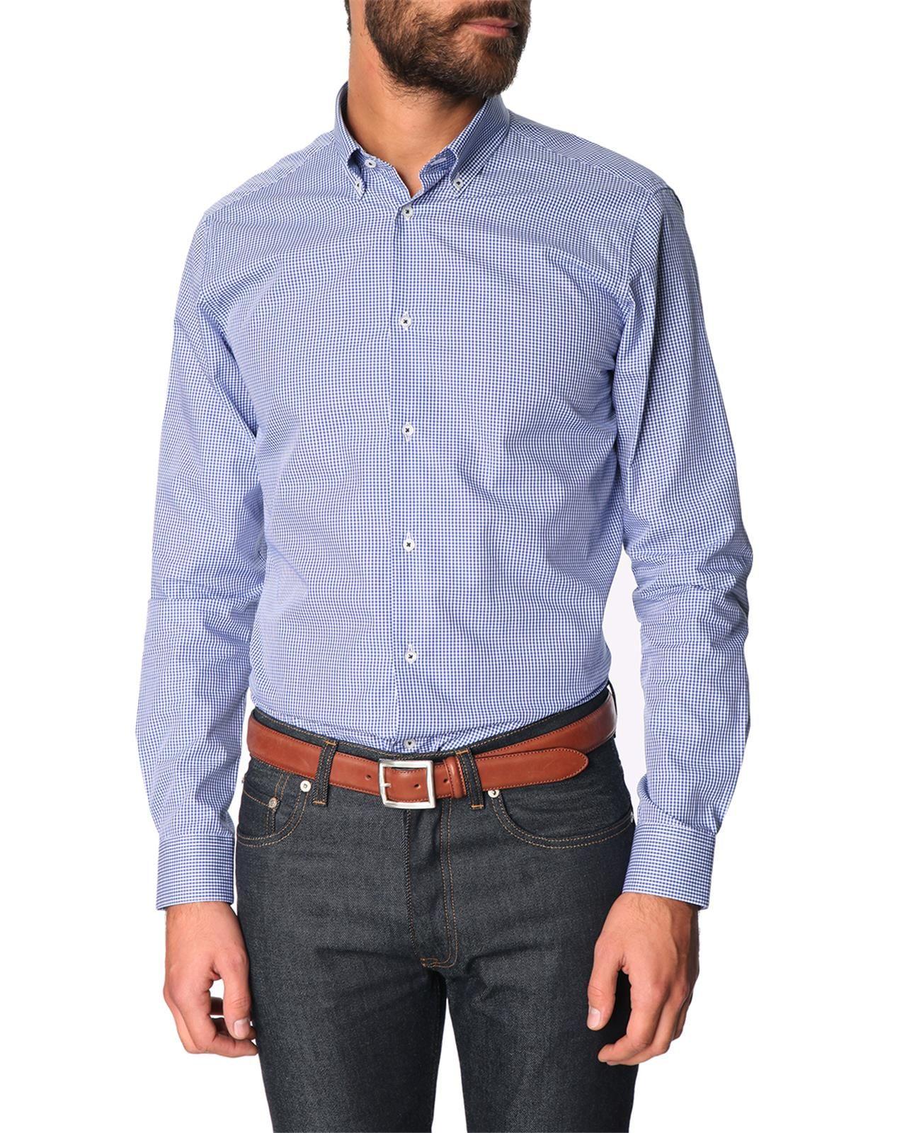Atelier Priv Vichy Navy Slim Fit Shirt In Blue For Men Lyst