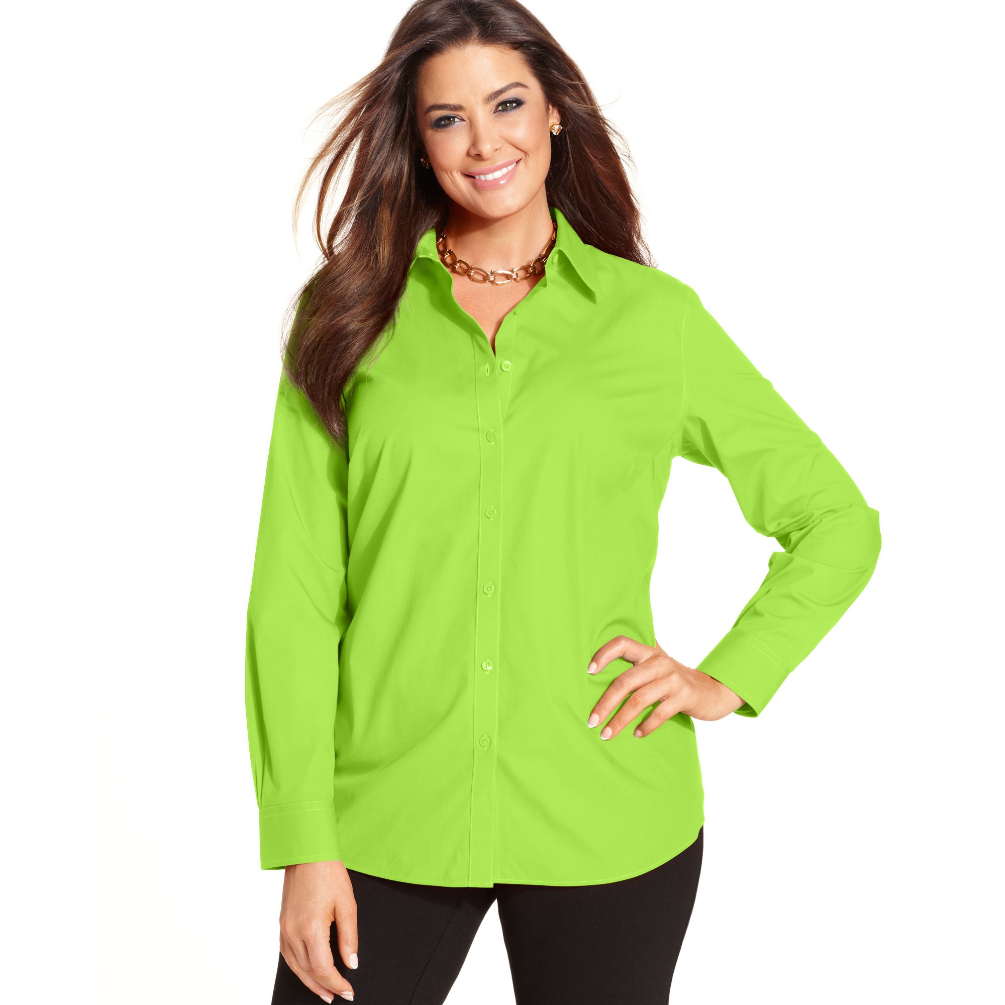 Lyst jones new york signature plus size long sleeve for New york and company dress shirts