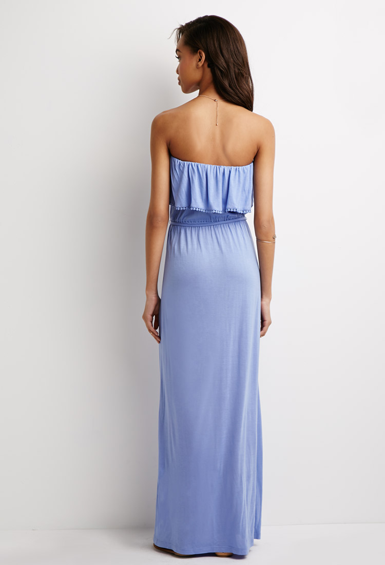 c4d0069e57b55 Forever 21 Strapless Flounce Maxi Dress in Blue - Lyst