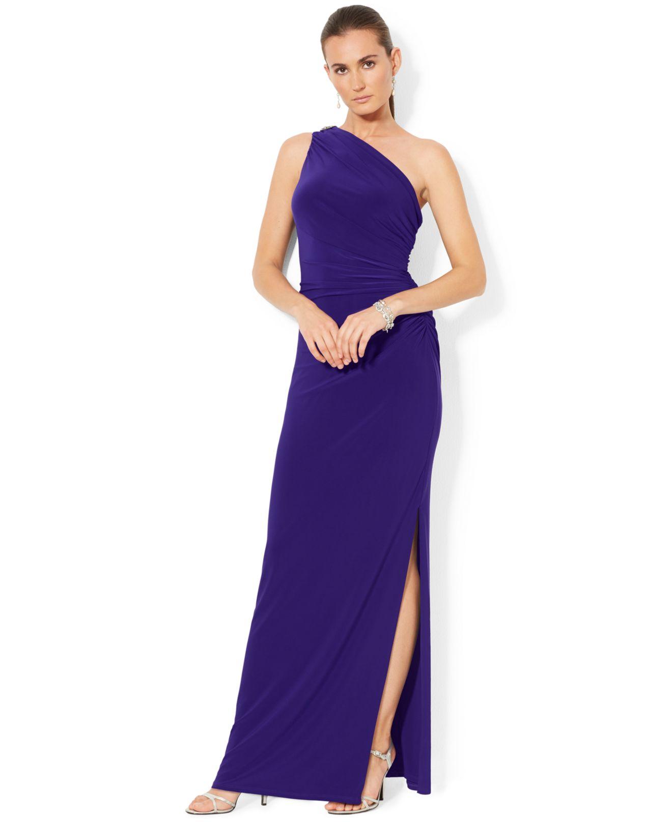 Lauren By Ralph Lauren One Shoulder Evening Gown In Purple