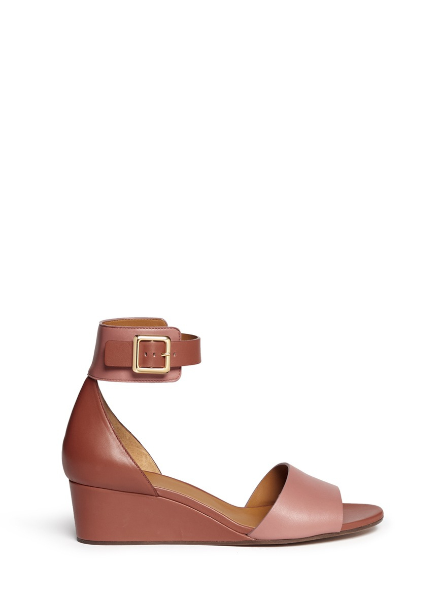 Lyst - Chloé Ankle Strap Leather Wedge Sandals in Pink