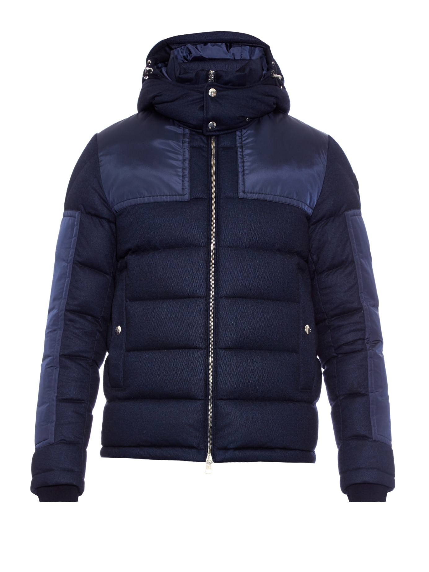 Moncler Severac Panelled Wool Flanel Coat In Blue For Men Lyst Navy Gallery