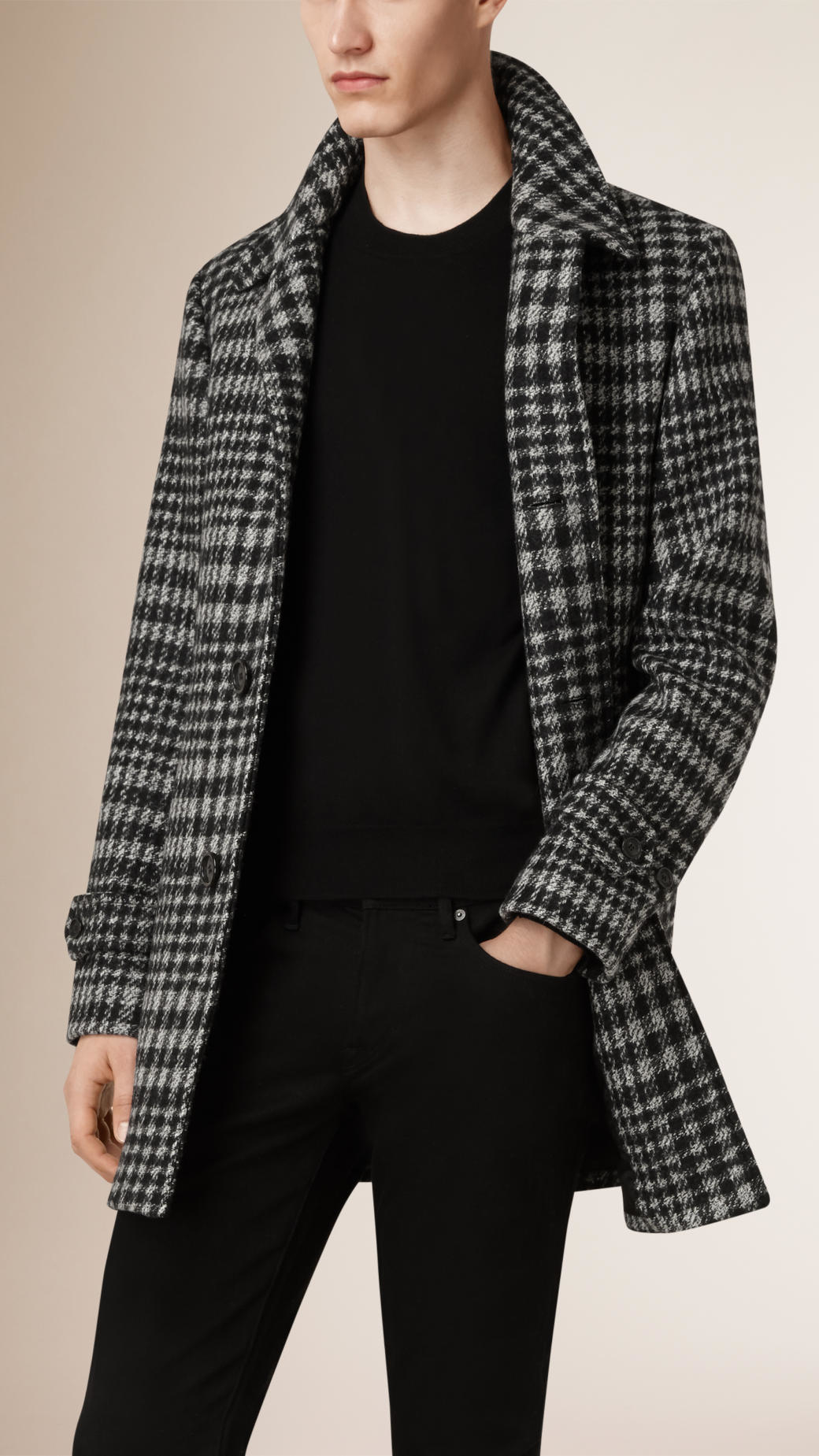 9307a793aa34 Burberry Prince Of Wales Check Wool Blend Car Coat in Black for Men ...