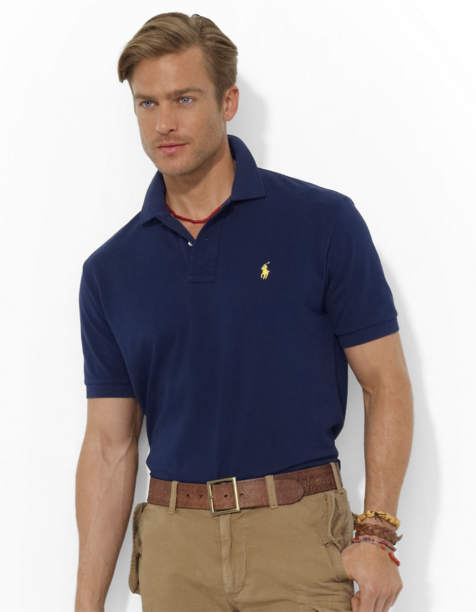 Polo Men Ralph Lauren Short Sleeved Pink Mesh .