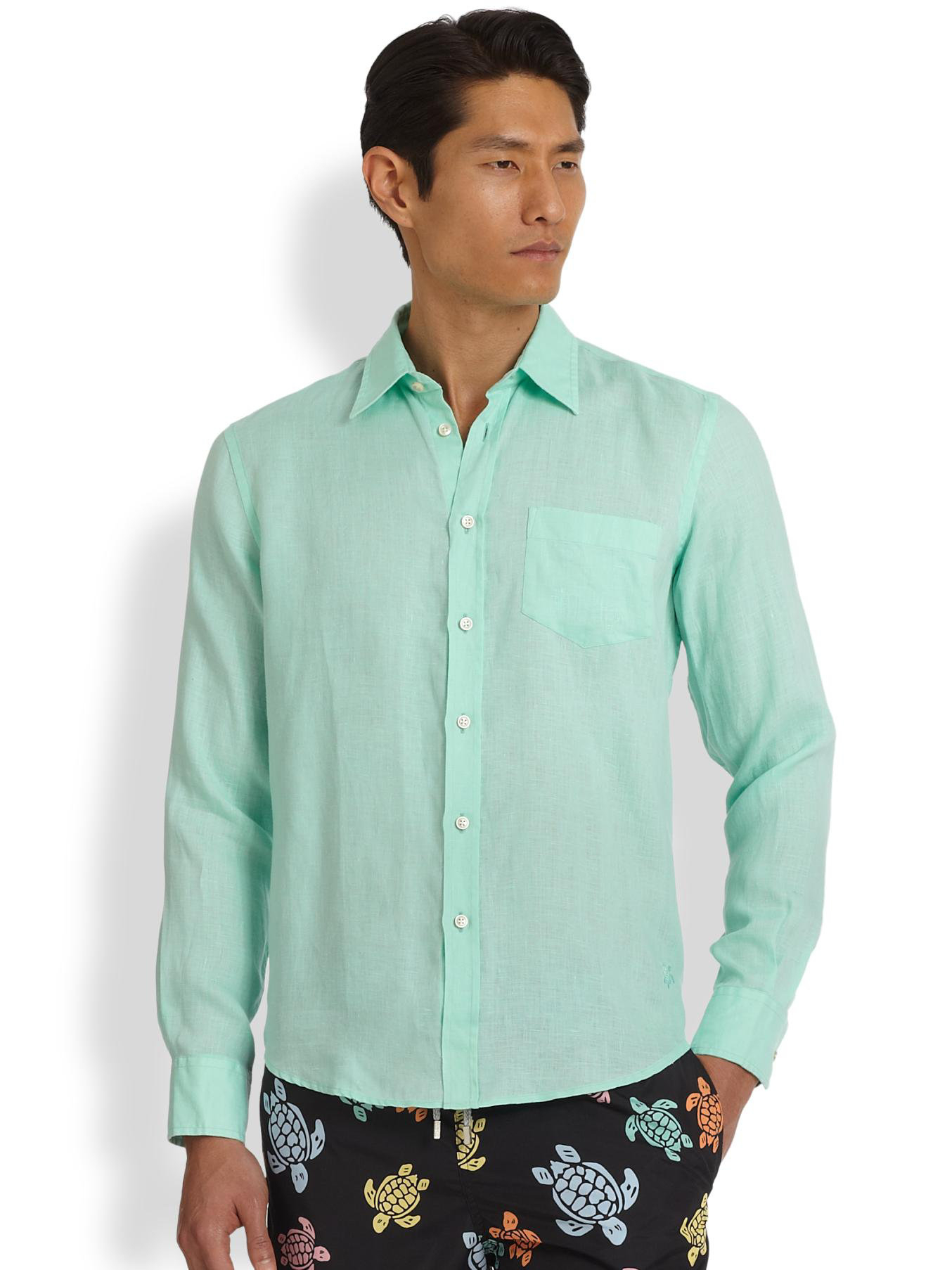 light green button down shirt is shirt
