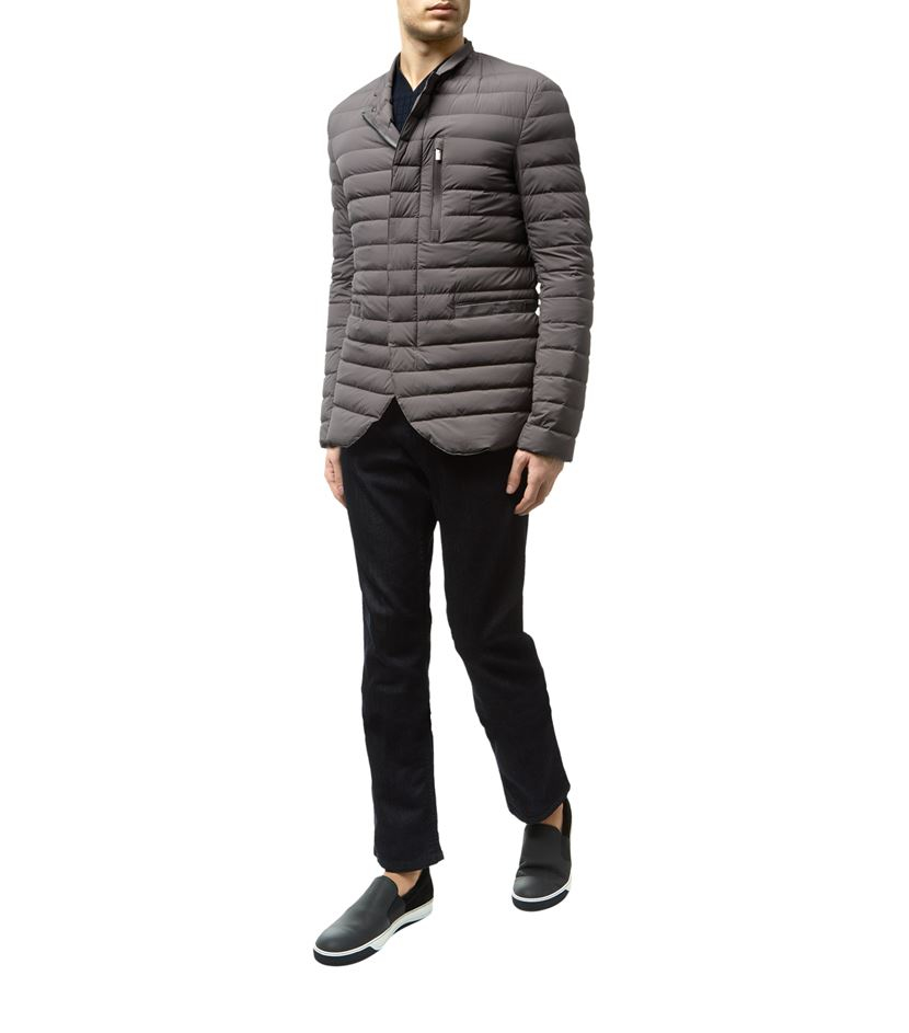 Armani Quilted Puffer Jacket In Gray For Men Lyst
