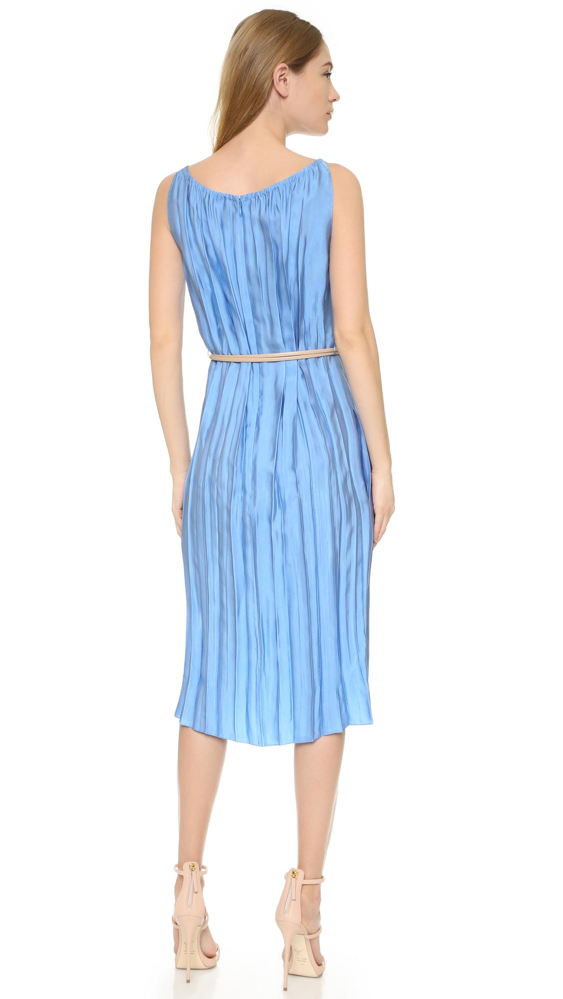 Nina ricci Pleated Dress in Blue | Lyst