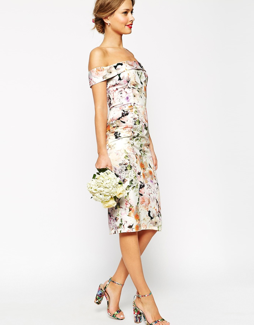 7aca03f182f9 Lyst - ASOS Wedding Bardot Floral Off Shoulder Pencil Dress