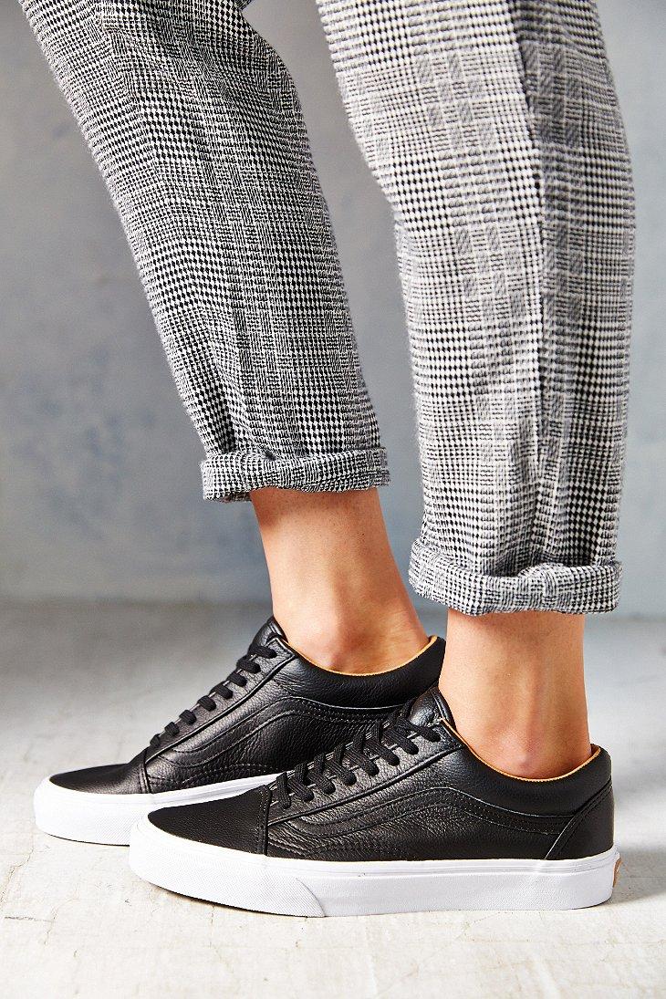 d5e1130f795 Lyst - Vans Old Skool Premium Leather Low-Top Women S Sneaker in Black