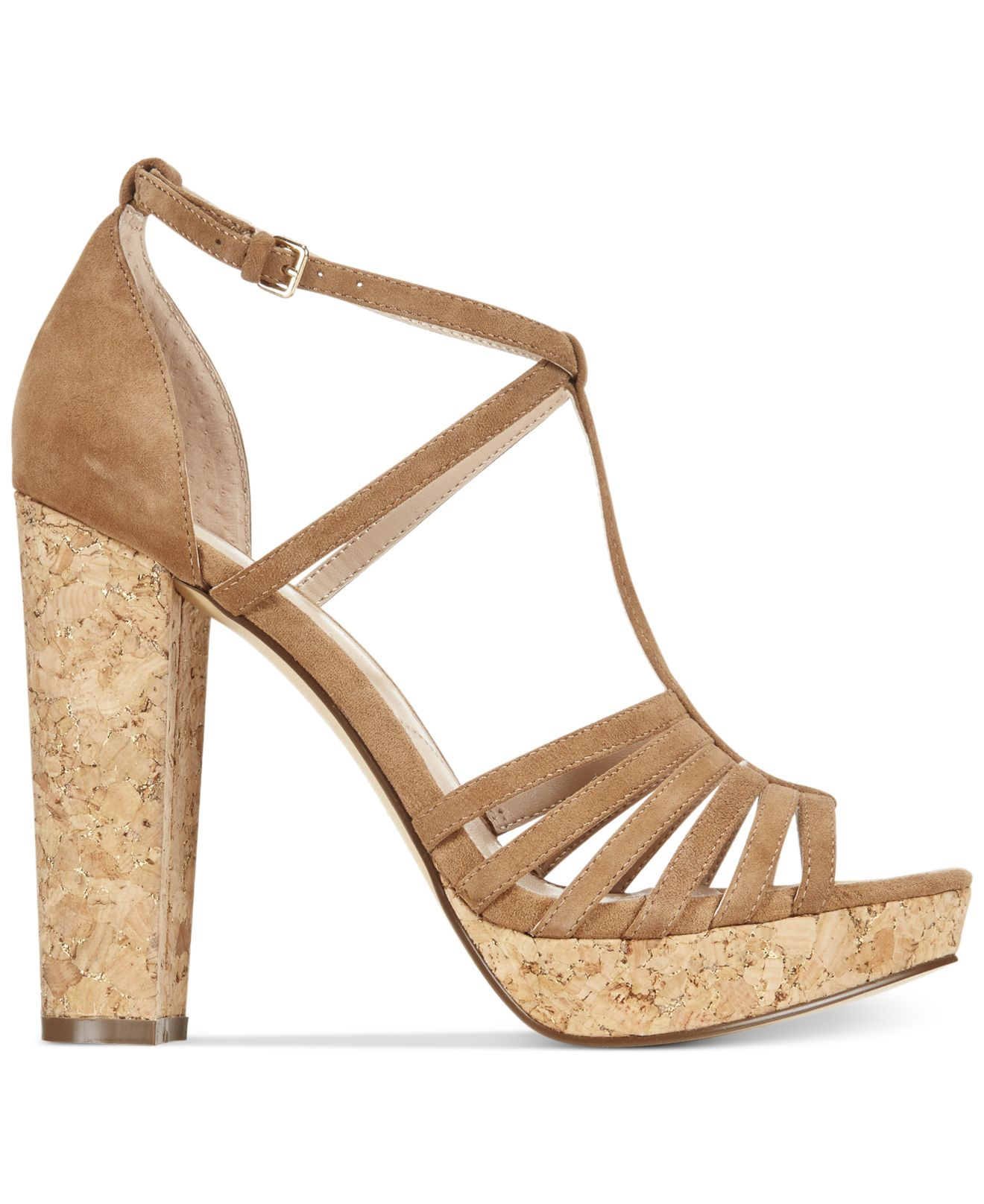 d592edb7f398 Lyst - Charles David Faint Strappy Suede Sandals in Natural