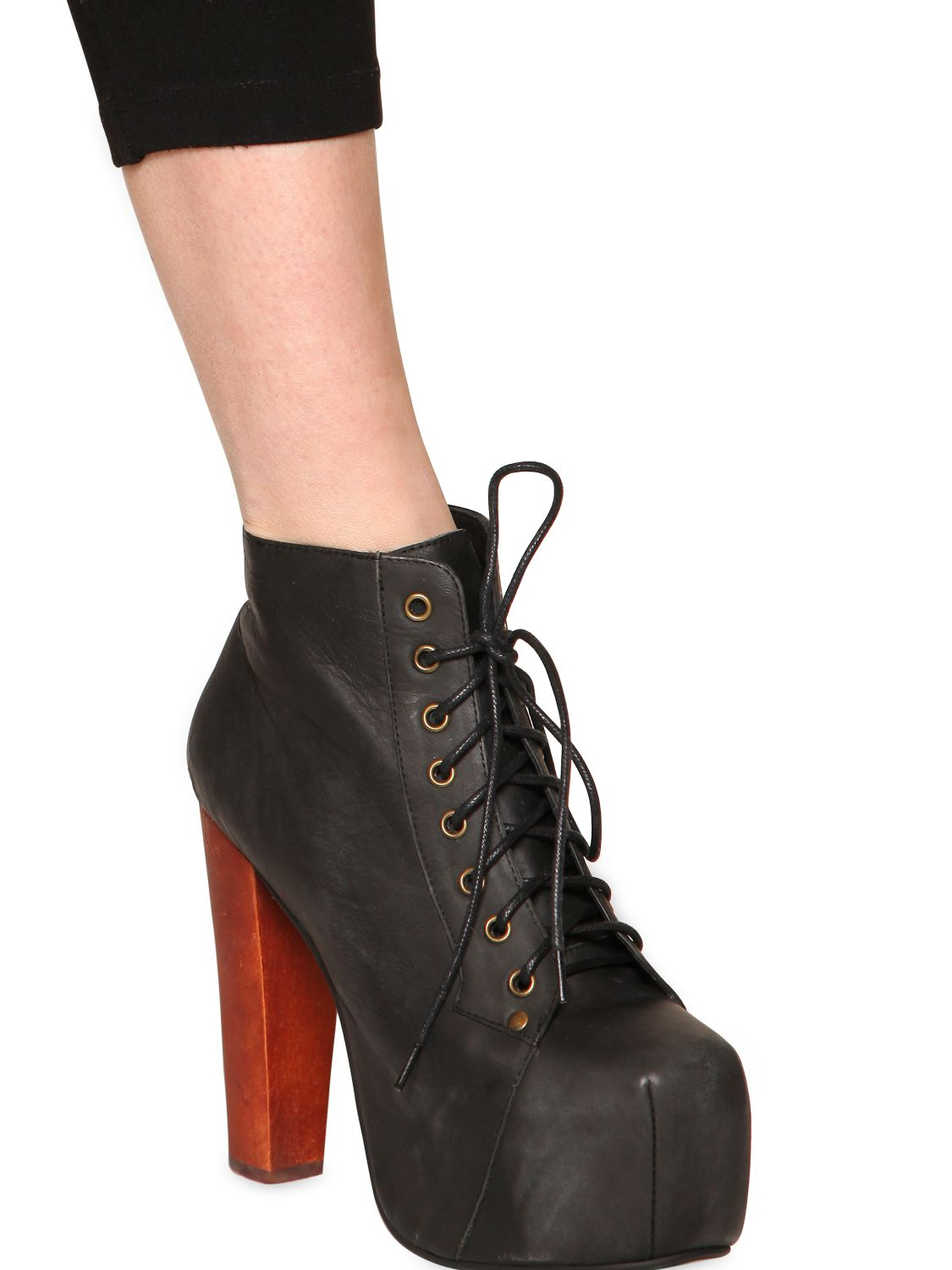 Jeffrey campbell 120mm lita leather ankle boots in black lyst - Jeffrey campbell lita platform boots ...