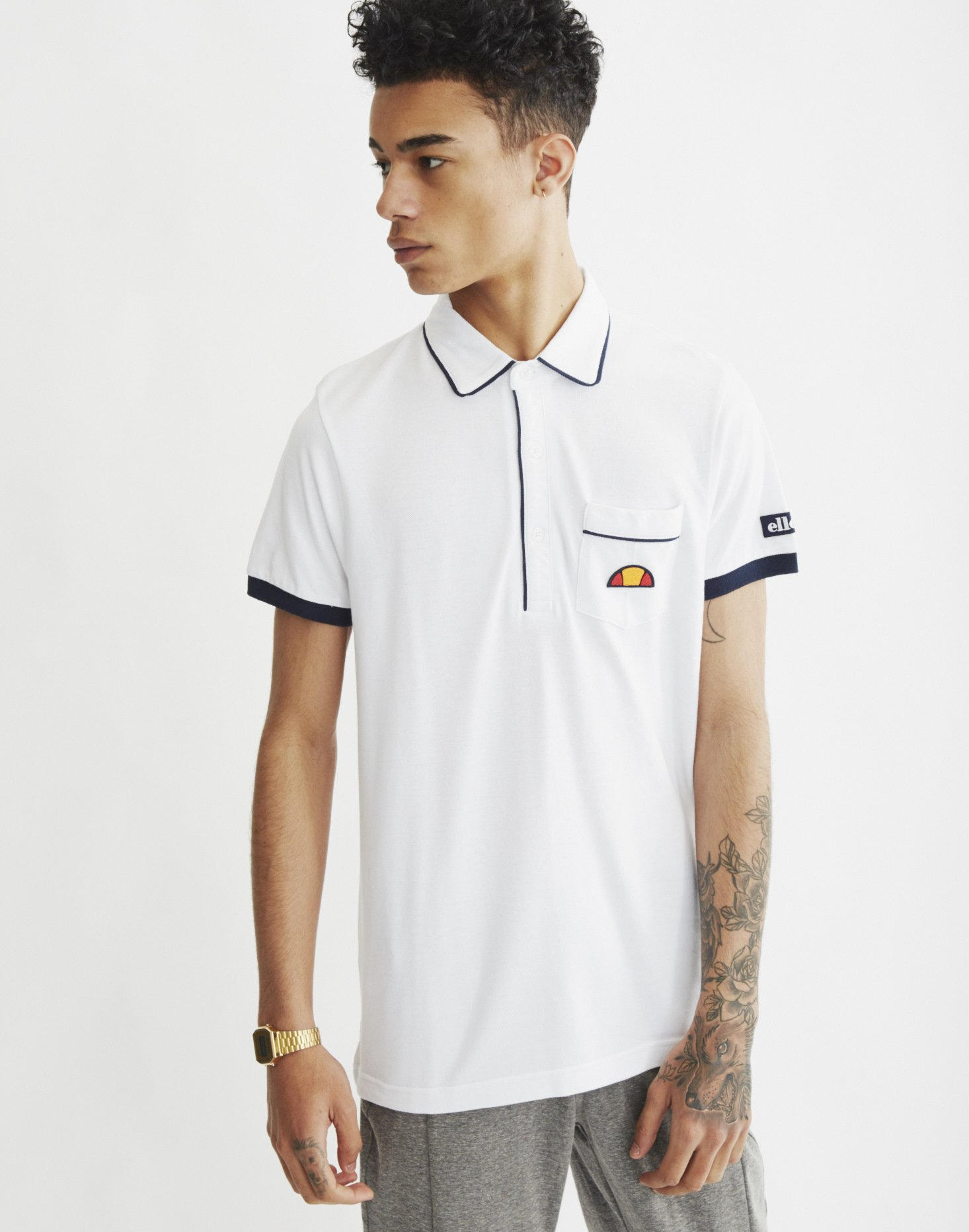 Ellesse short sleeve polo shirt with pocket in white for for Short sleeve polo shirt with pocket