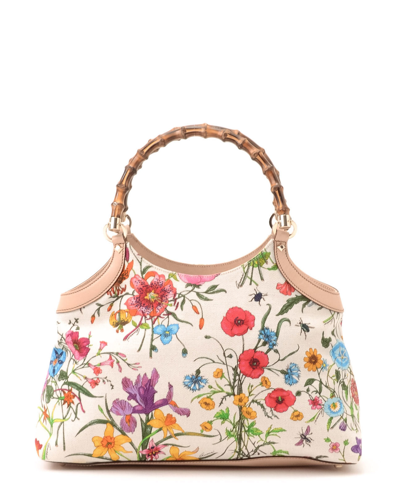 23d3ceeac Gucci Flora Bamboo Handbag in White - Lyst