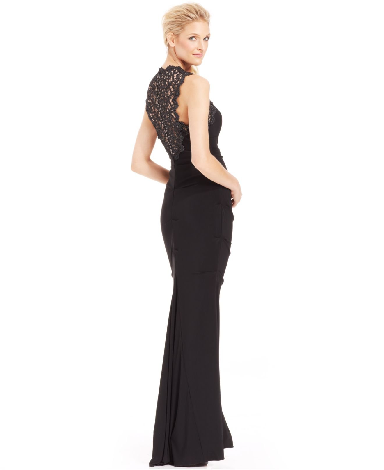 Lyst - Xscape Glitter Lace Cutout Mermaid Gown in Black