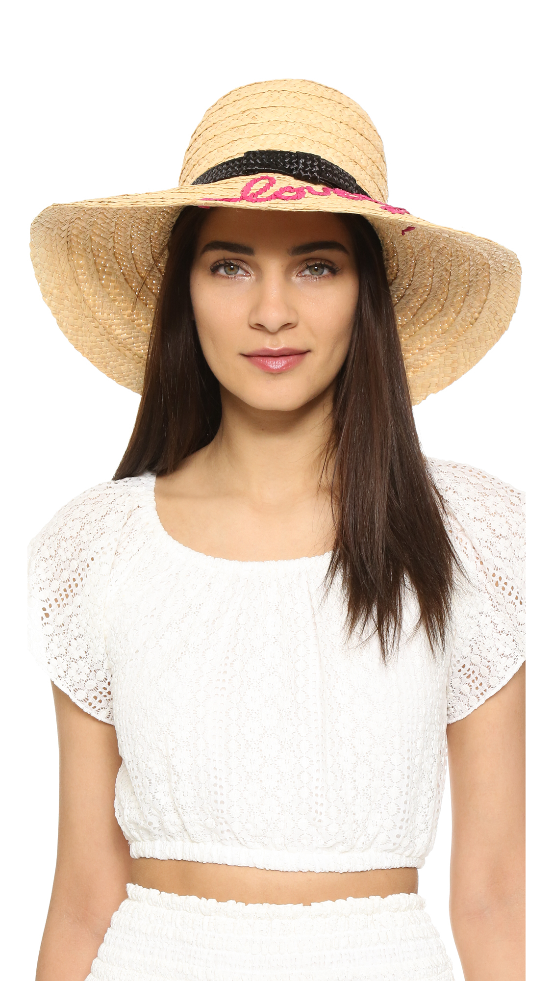 7fb390ff47081 Kate Spade Embroidered Lovely Sunhat in Natural - Lyst