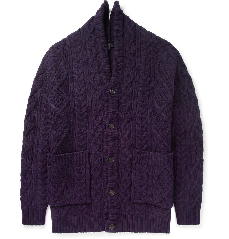 d07613255a9850 Burberry Prorsum Oversized Chunky Cable Knit Cashmere Cardigan in ...