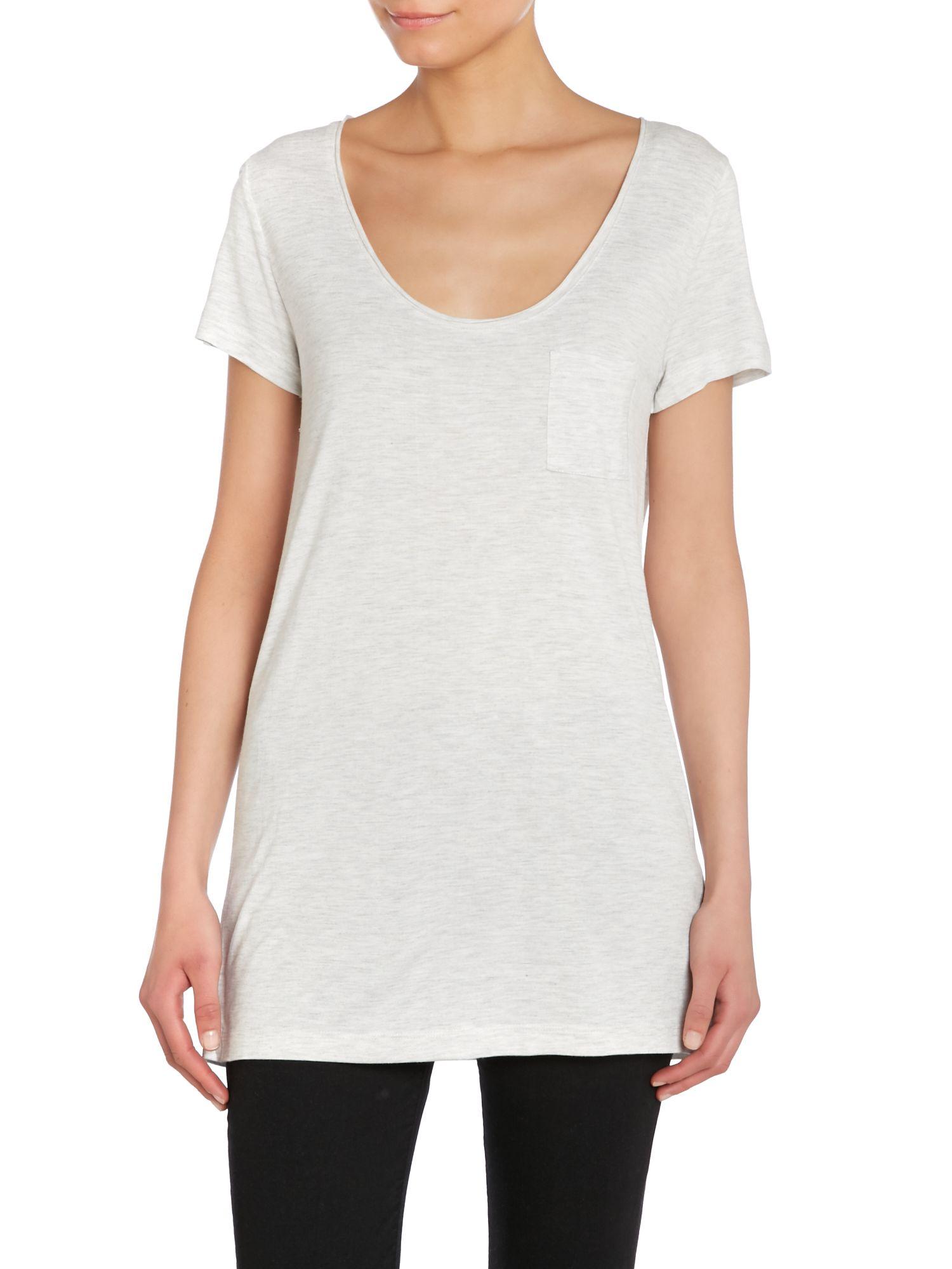 Lyst noa noa short sleeve t shirt in metallic for Silver metallic shirt women s