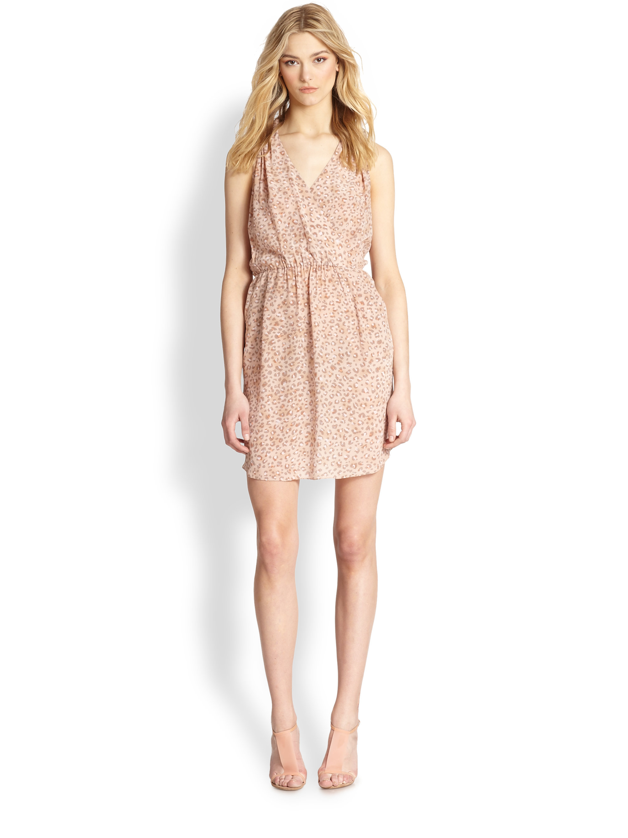 8f2406281eb Lyst - Rebecca Taylor Silk Leopard-Print Cutout-Back Dress in Natural