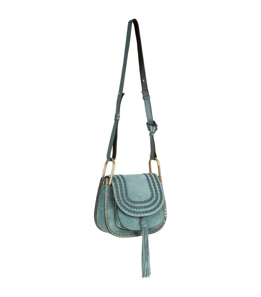 Chlo�� Small Hudson Suede Shoulder Bag in Blue | Lyst