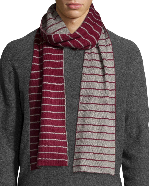 portolano minerva thin stripe scarf in purple for lyst