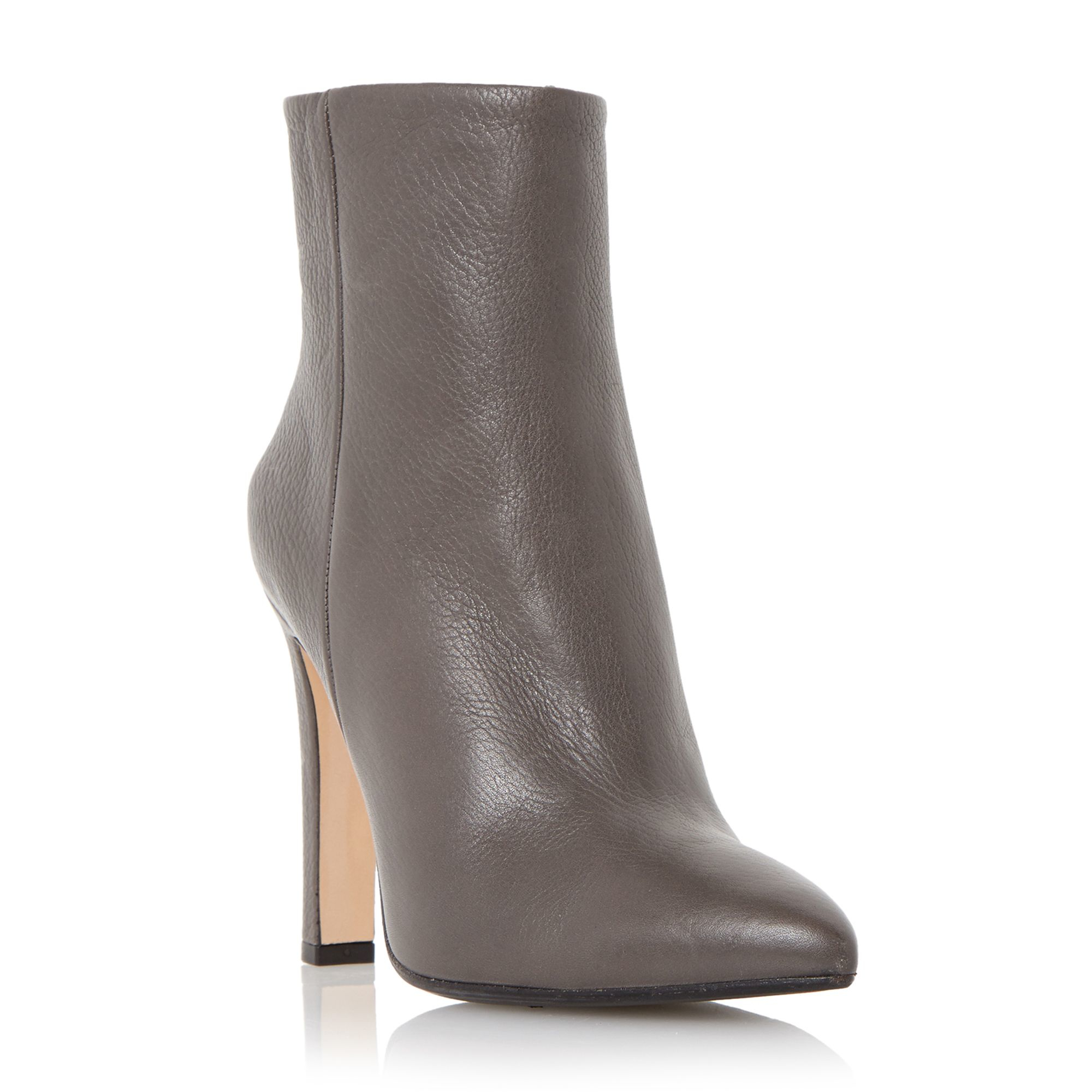 dune black ora leather pointed toe ankle boots in gray