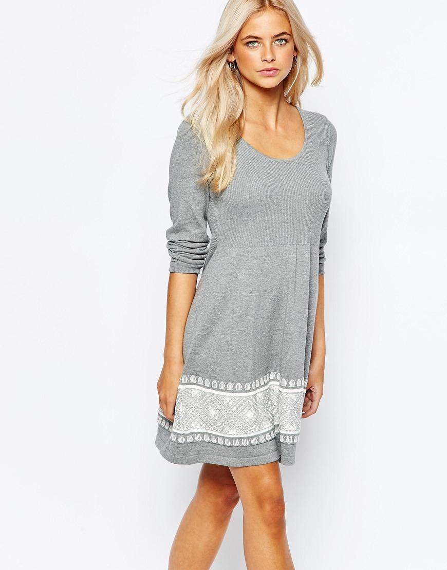 54d8f8cf1e Lyst - Oasis Fairisle Print Knitted Skater Dress in Gray