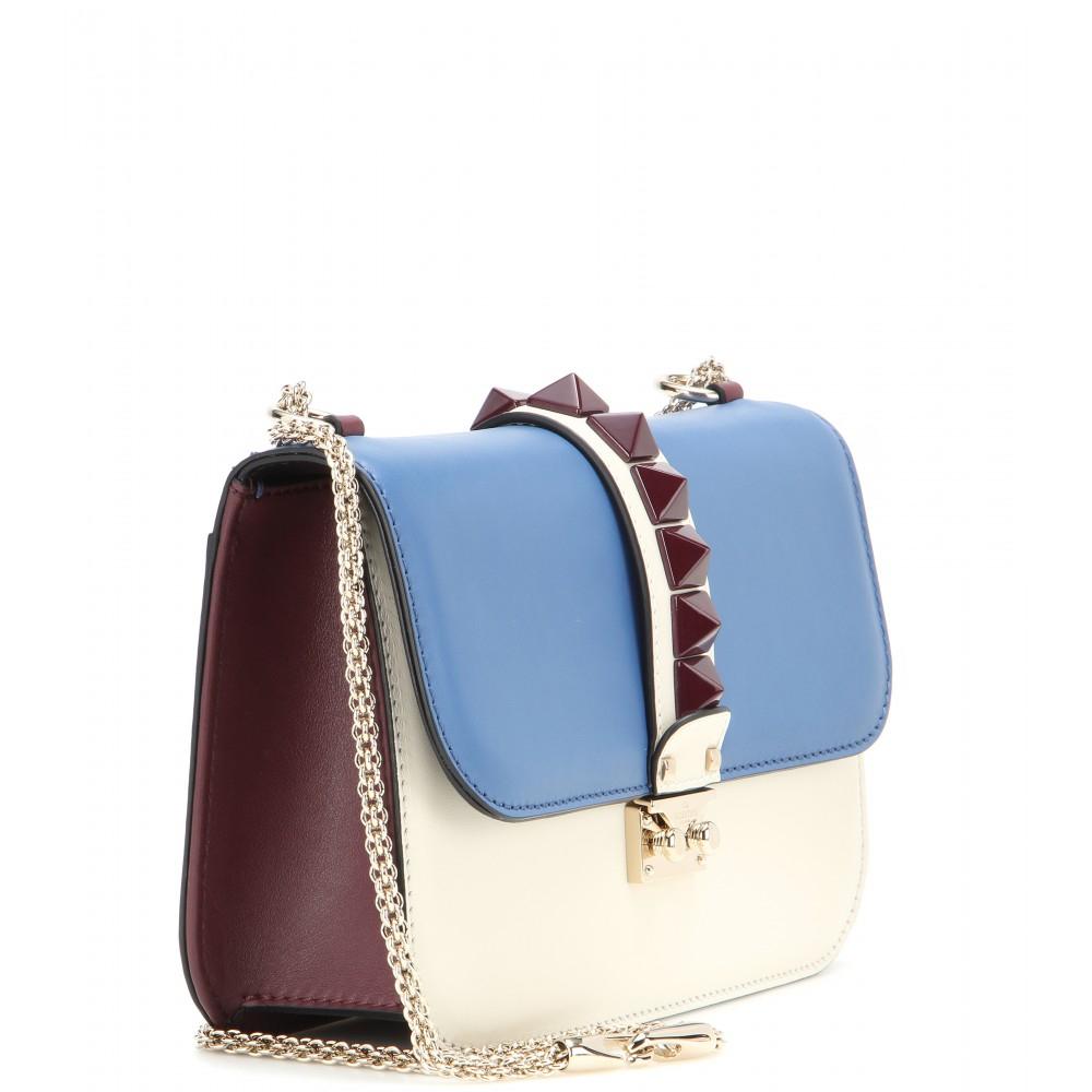 lyst valentino lock medium leather shoulder bag in blue. Black Bedroom Furniture Sets. Home Design Ideas