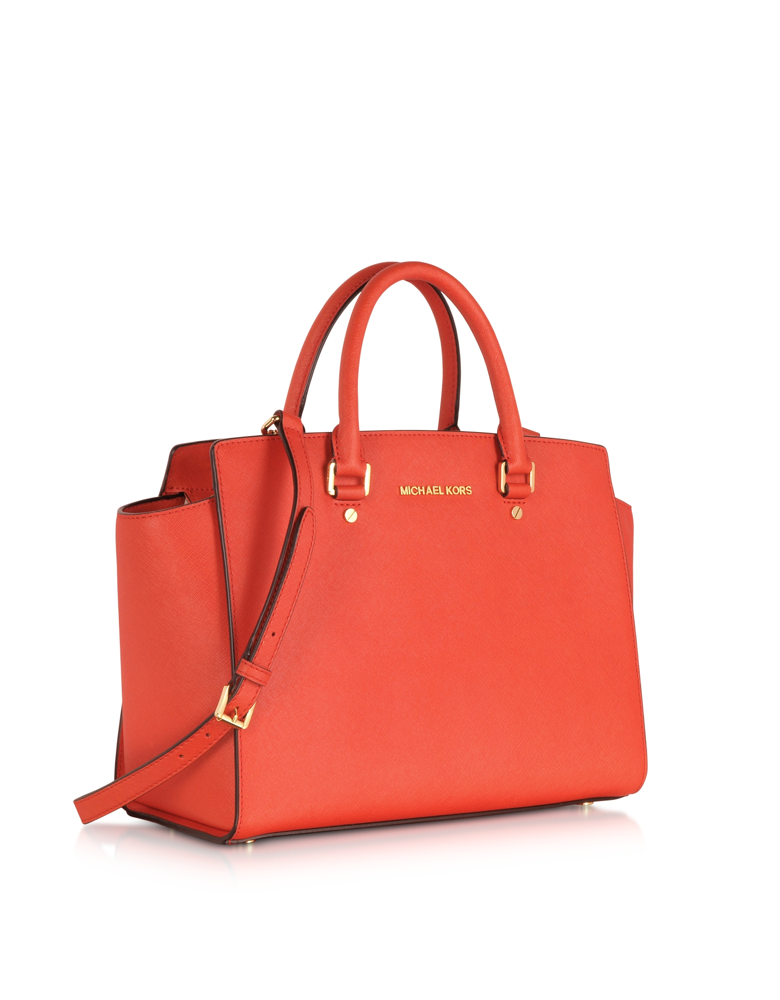 michael kors mandarin large selma topzip saffiano leather satchel in red lyst. Black Bedroom Furniture Sets. Home Design Ideas