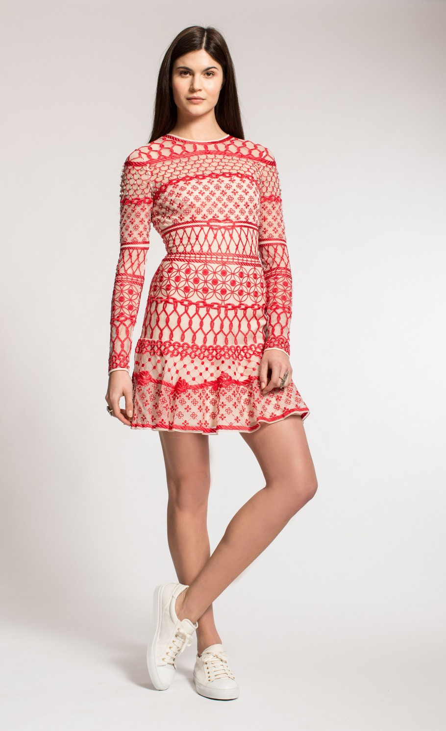 Temperley london mini fishnet dress in red red mix lyst for Fish net dress