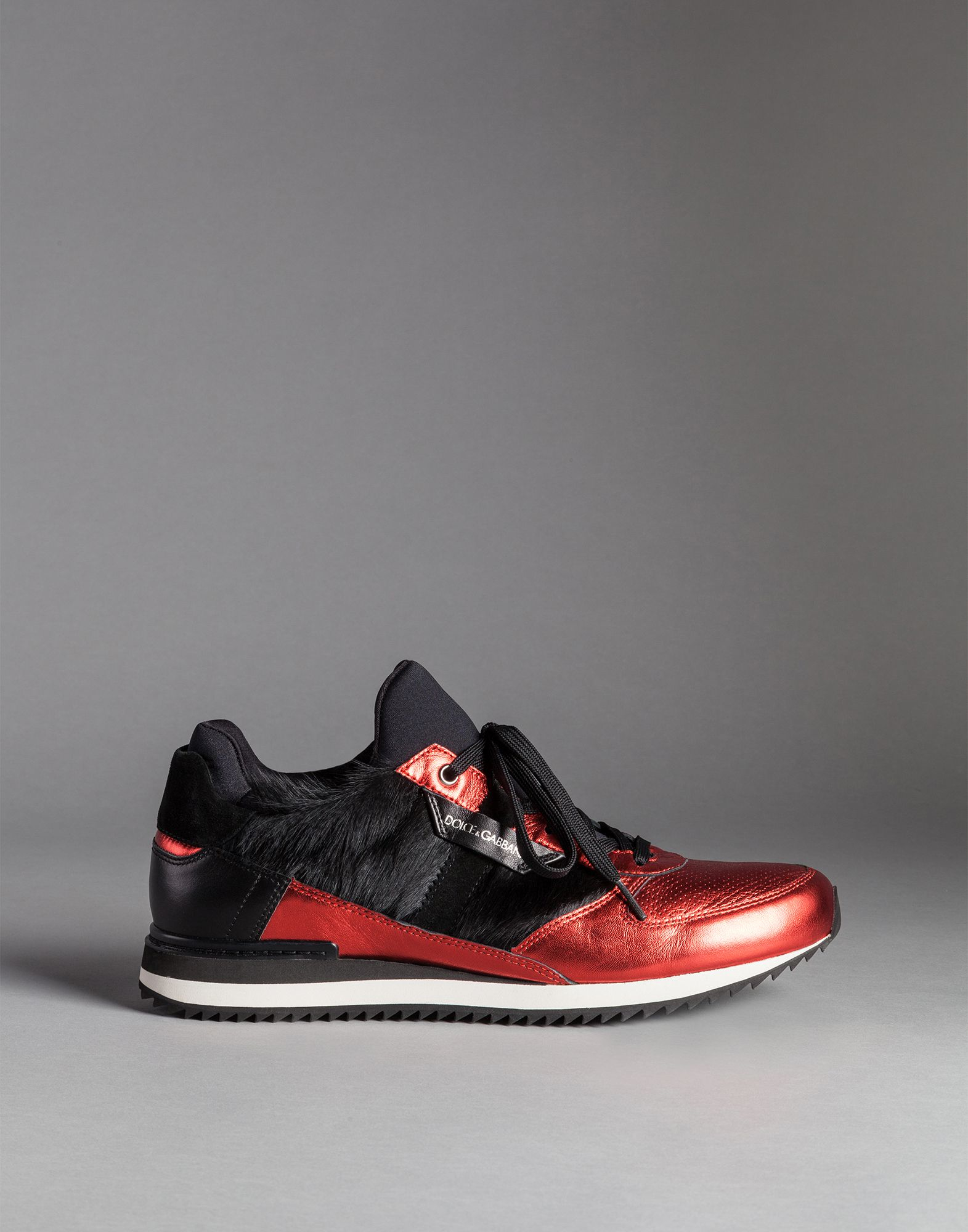 lyst dolce gabbana sneakers laminated pony detail in red for men. Black Bedroom Furniture Sets. Home Design Ideas
