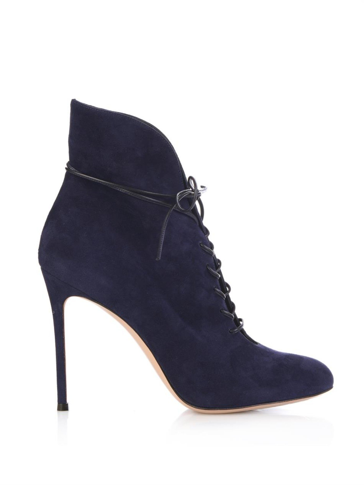 gianvito lace up suede ankle boots in blue lyst