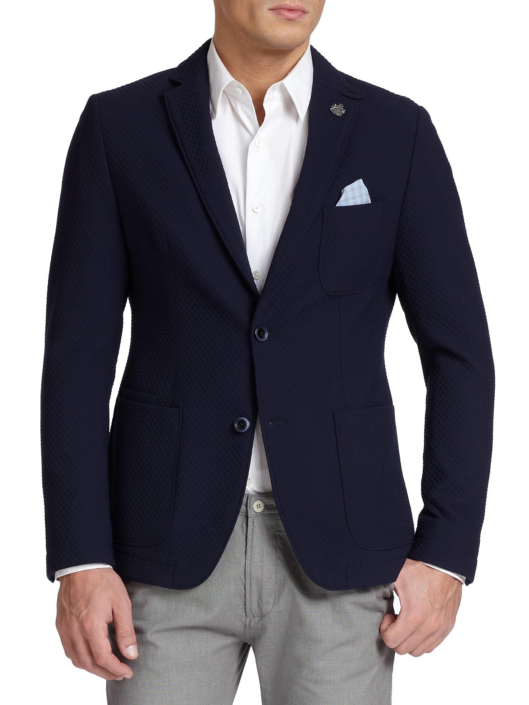 hugo boss navim quilted blazer in blue for men dark blue. Black Bedroom Furniture Sets. Home Design Ideas