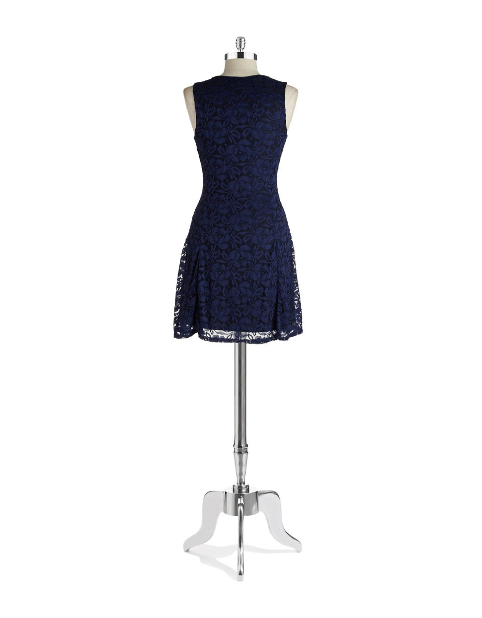 Lord Taylor Lace Fit And Flare Dress In Blue Lyst