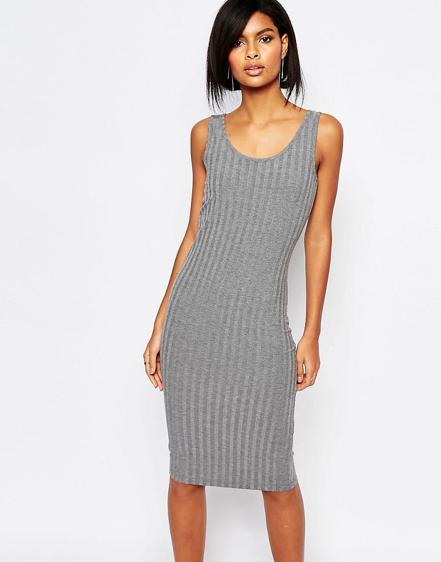 Vero Moda Jersey Rib Midi Dress in Gray - Lyst 5abc3abfed01