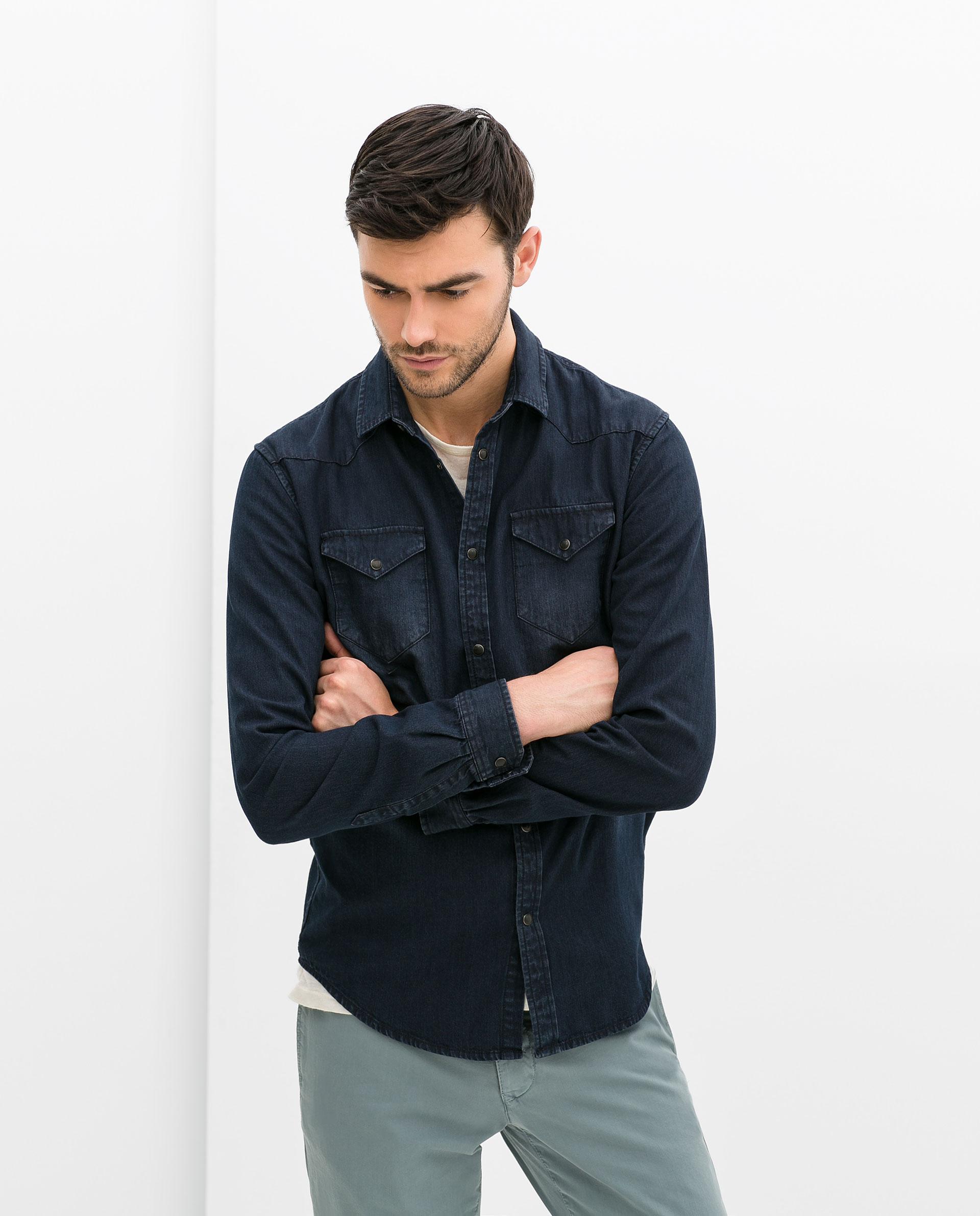 zara denim shirt in blue for men lyst