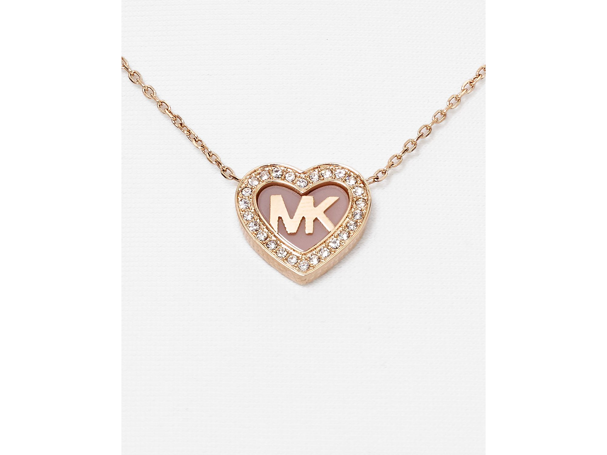 Lyst michael kors pave heart pendant necklace 16 in pink gallery aloadofball Image collections